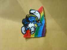 AWESOME SMURFS VINTAGE SMURFETTE W/ RAINBOW 2 INCH IRON ON PATCH RARE!