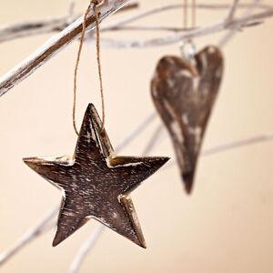 Fair Trade Handmade Mango Wooden Heart and Star Hanging - Pack of 2 - 1 Each