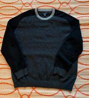Club Room Men's Long Sleeve Knit Crew Neck Sweater Shirt Gray Black Cashmere XL