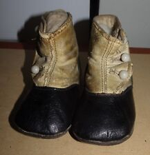 ANTIQUE VICTORIAN BLACK~BEIGE SUPPLE LEATHER BABY~DOLL SHOES