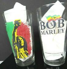 2 (Pair) Bob Marley Drinking Beer Glasses Jamaica Reggae Red Green Black sh