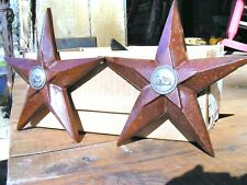 """TWO custom RUST finish Cast Iron Western Stars with cross concho centers, 7 1/2"""""""