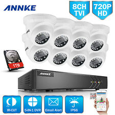 Annke 8x720P White Dome Camera 8Ch 1080P Lite Dvr Cctv Security Smart Search 1Tb