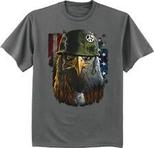 Mens Graphic Tees American Flag Military Pride T-shirt Army Marines USMC Eagle