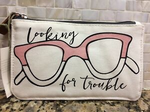 Caroline Gardner Looking Trouble canvas Glasses pool beach pouch Travel Case NWT