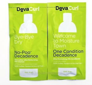 Deva Curl No-Poo Cleanser + One Condition Decadence 1oz Sample Kit (SEALED)