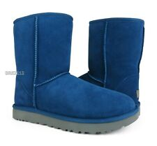 UGG Classic Short II Dark Denim Suede Fur Boots Womens Size 8 *NIB*