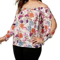SIZE 3X INC Pink Floral Off Shoulder Boho Top Blouse Shirt Women's Plus NWT New