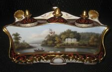 Chamberlain Worcester topographical inkstand early 19th century porcelain