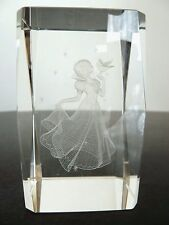 "Disney Snow White 3D Laser Etched Glass Figurine Paperweight. Approx 3"" Tall"
