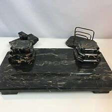 "Huge 27 Pound 20"" Vintage Art Deco Marble Inkwell Desk Set Blotter & Rack"
