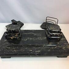 """Huge 27 Pound 20"""" Vintage Art Deco Marble Inkwell Desk Set Blotter & Rack"""