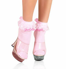 ANKLET SOCKS Frilly Ruffle Lace SATIN BOWS School Girl Costume DANCEWEAR Nylon
