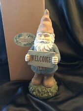 """Enchanting Gnome Statue Welcome Home Garden Yard Outdoor Lawn New 11.5"""" Rustic"""