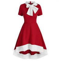 Womens Christmas Party Dress Irregular Bowk-not Holiday Cocktail Swing Dresses