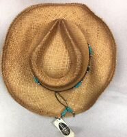 New Vintage DALLAS  COWBOY Western HAT STRAW- Rodeo Shapable Crushable