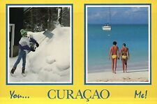 You ...Curacao  Me !, Shoveling Snow vs. Beach in Paradise, Netherlands Postcard