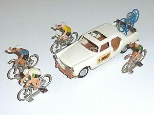 Ancien Jouet Voiture COFALU PEUGEOT 404 BIC & Cyclistes TOUR DE FRANCE Vintage