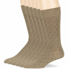Men Cotton Dotted Patterned 6Pack Dress Business Casual Socks Beige 10-13 Large
