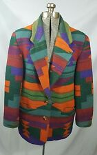 EAST WEST Women's Aztec NATIVE AMERICAN Print WOOL Suit JACKET Blazer Size Small