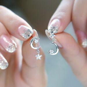 925 Silver CZ Moon Star Dangle Stud Earrings for Women Girl