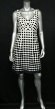 ELIZA J NEW YORK White/Black Print Sleeveless V-Neck Pleated Skater Dress sz 8