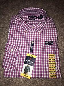 New Mens Chaps Button-up LS Pink Plaid Dress Shirt Sz Medium . MSRP $55