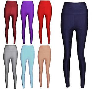 1s New Ladies Disco Leggings High Waisted Womens Shiny Fabric Dance 8-14