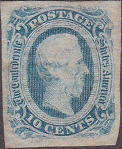 Confederate CSA #12 Ten Cent Stamp