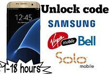 Unlock code Bell Virgin Solo Samsung S8 S8+ S7 S6 edge S5 neo a5 j1 j3 Note 4 5