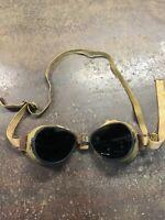 Vintage US WW1 World War 1 Aviator Pilot Fur-Lined Sun Goggles Glasses ORIGINAL