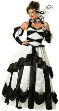 Womens Black and White Carnival Queen Deluxe Adult Costume Dress Size Large