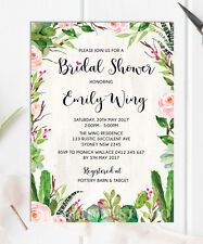 Succulent Bridal Shower Invitation Rustic Cactus Rose Botanical Invite Hen Party