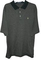 Ralph Lauren Polo Golf mens XL shirt pony logo black stripes hemmed sleeves