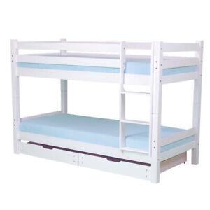 Hochbett Etagenbett Kiefer Massivholz Weiß Rollrost Bett Bettkasten Alice