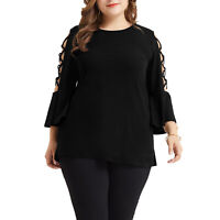 Womens Plus Size Casual Loose Hollowed Out Shoulder Three Quarter Sleeve Shirts