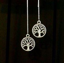 """IAJ"" TREE OF LIFE STERLING SILVER Ear Threads Threader Earrings"