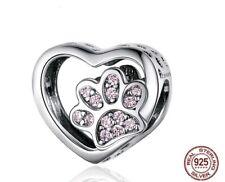 💖💖 Dog Cat Paw Love Heart Genuine 925 Sterling Silver Charm Bead Bracelet 💖💖