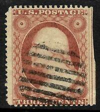 Sc #26 2 Jumbo Margin Straddle Pen Cancel SON 3 Cent Washington 1857-61 US 12B35