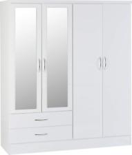 Seconique Nevada 4 Door 2 Drawer Mirrored Wardrobe - White Gloss