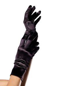 LA-2B Sexy Black Satin Wrist Length Opera Prom Evening Burlesque Gloves Costume