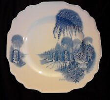 Myott Son & Co English Garden plate J Walker blue 9ins 22cm vintage