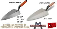 "Marshalltown 10/11/12"" Philadelphia Pattern Brick Trowel Durasoft/Leather Handle"