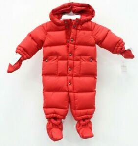 Polo Ralph Lauren Baby Quilted Down Hooded Snowsuit Size 6 M Red NWT