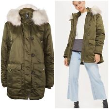 TOPSHOP £79 Shiny Khaki Green Parka Cream Fur Hooded Coat Jacket SIZE10/12 EU38