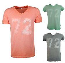 Markenlose Herren-T-Shirts mit V-Ausschnitt und Motiv