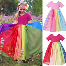 Toddler Kid Girl Princess Rainbow Dress Wedding Party Birthday Sundress Holiday