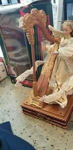 """Musical Synthesized Harp Animated Harp Angel Holiday Creations 16"""""""