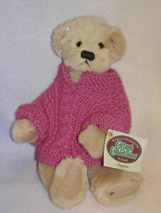 GANZ BEAR * DAPHNE * BEIGE * WEARING PINK SWEATER * 11 IN * MOVABLE PARTS *