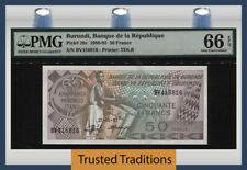 TT PK 28c 1988-93 BURUNDI BANQUE DE LA REPUBLIQUE 50 FRANCS PMG 66 EPQ GEM UNC!
